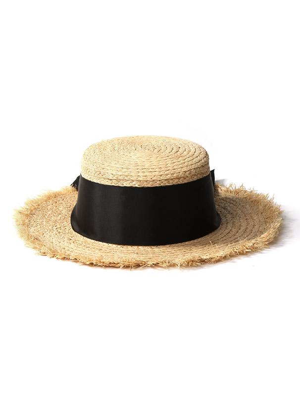 ワイドリボンカンカン帽