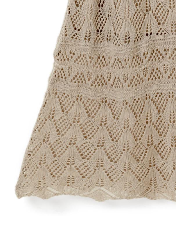 TシャツX透かし編みキャミXスカートニットセットアップ