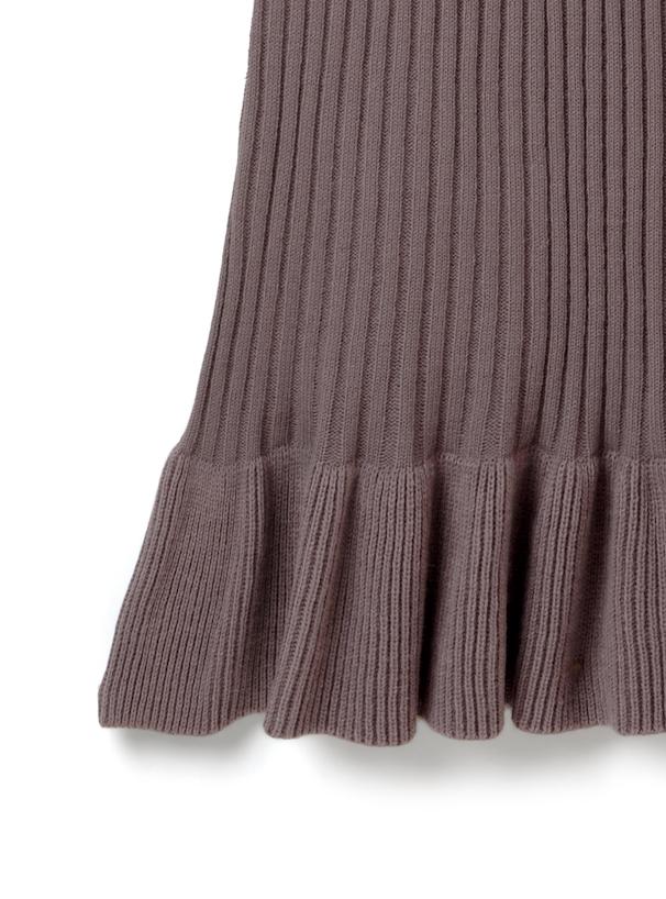 ウエストリボン付き袖異素材リブニットワンピース