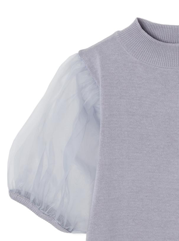 袖チュール切替えトップスXマーメイドスカートニットセットアップ