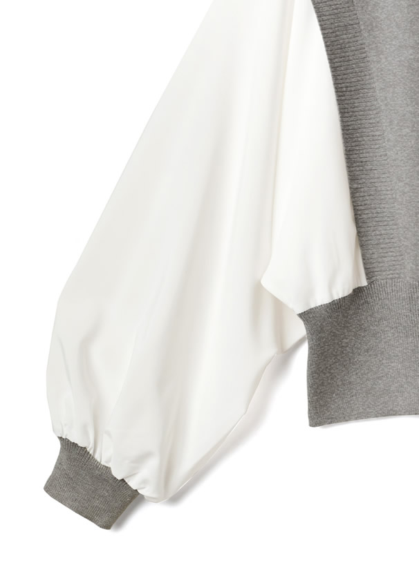 袖異素材ボリュームスリーブニットトップス