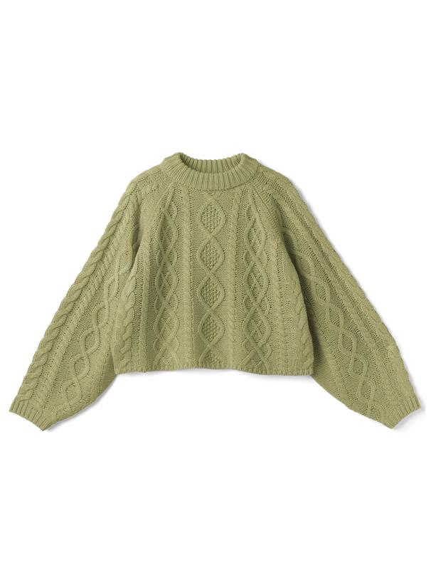 ケーブル編みモックネックショート丈ニットトップス
