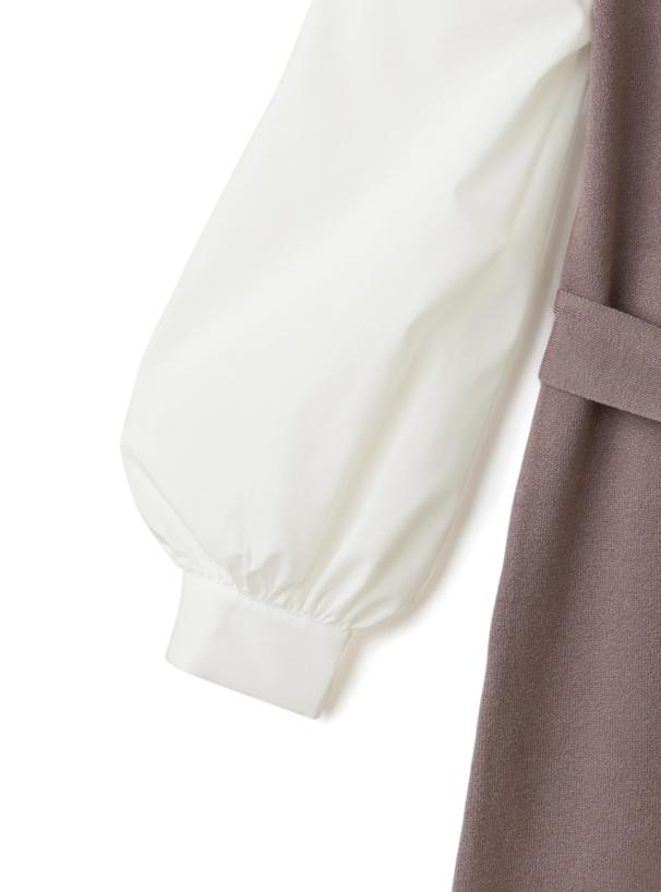 リボン付き異素材配色モックネックロングニットワンピース