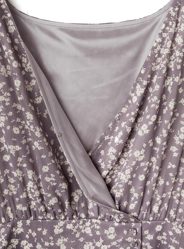 花柄シフォンカシュクールティアードワンピース