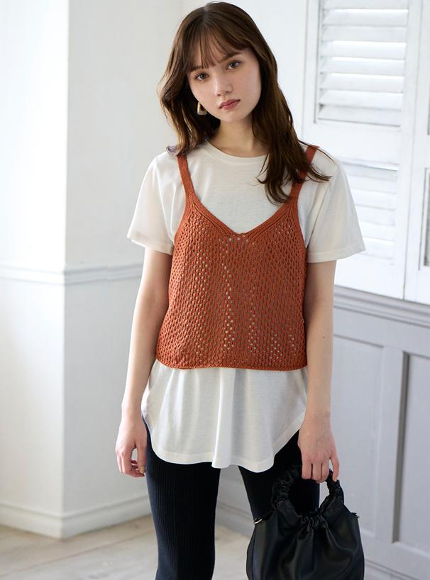 透かし編みニットキャミソールXTシャツセットアップ
