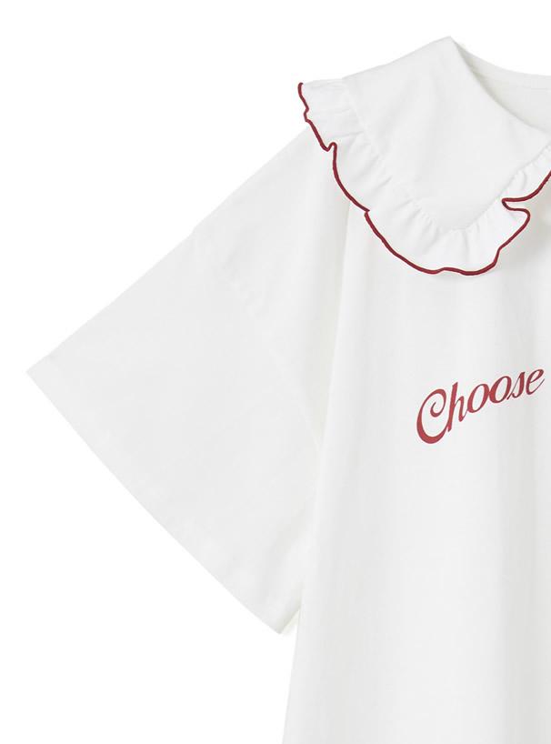 配色フリルセーラーカラーロゴチュニックTシャツ