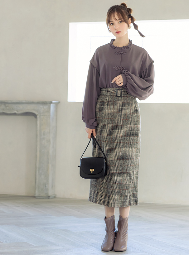 ベルト付ツイードグレンチェックタイトスカート