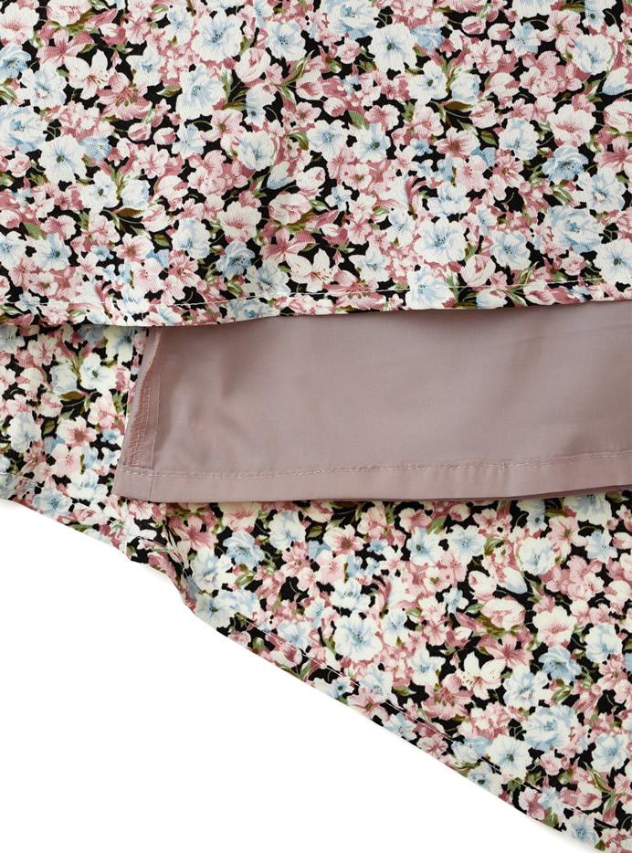 シャーリング花柄ワンピース