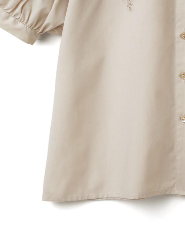 花刺繍ボリュームスリーブブラウス
