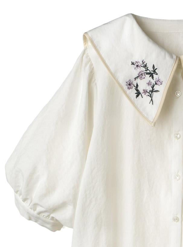 セーラーカラー花柄刺繍パフスリーブブラウス