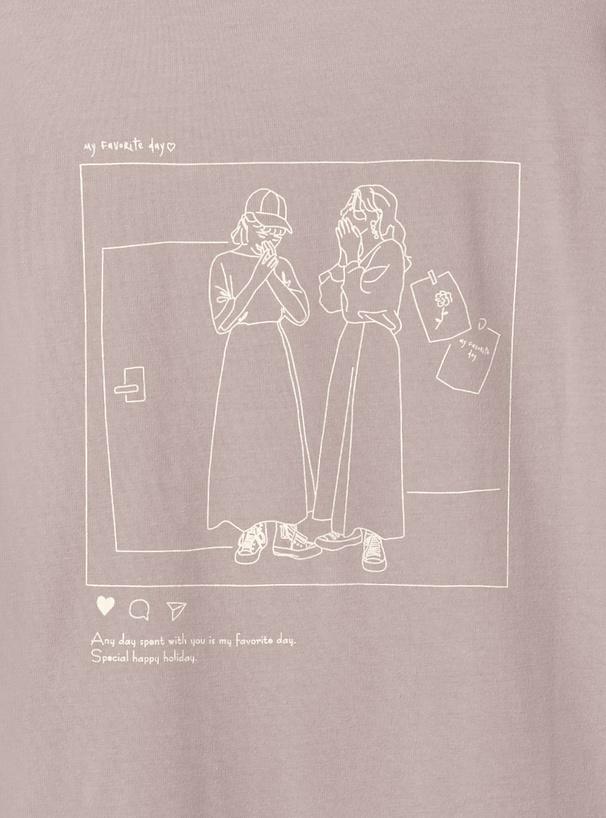 バックプリントイラストTシャツ