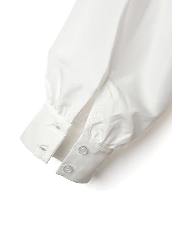 ケーブル編みサイドリボンニットベストXバンドネックシャツセット