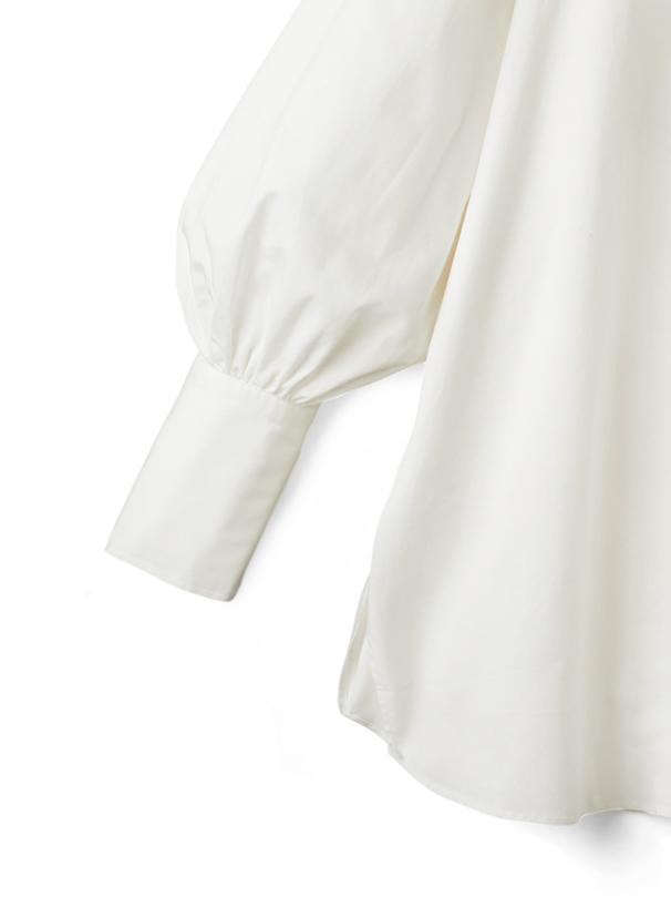 ケープカラーリボンサイドスリットチュニックシャツ