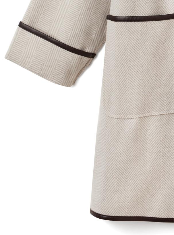 ヘリンボーンレザーパイピングコート