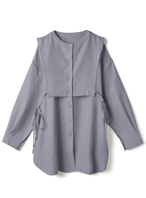 サイドリボンドッキングミジンコールチュニックシャツ