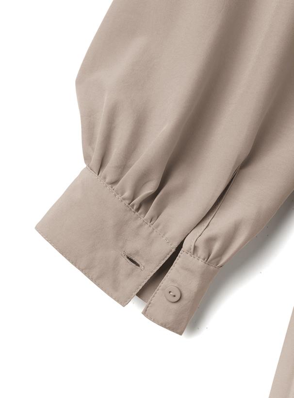 リボン付きバンドカラープリーツ切替シャツ