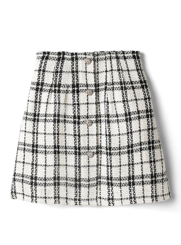 チェック柄ツイード台形ミニスカート