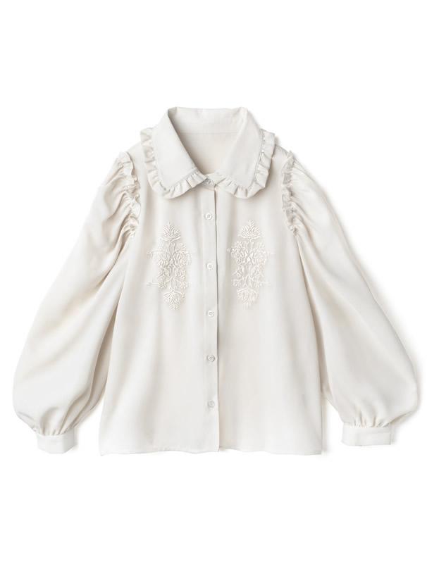 衿フリル刺繍デザインブラウス