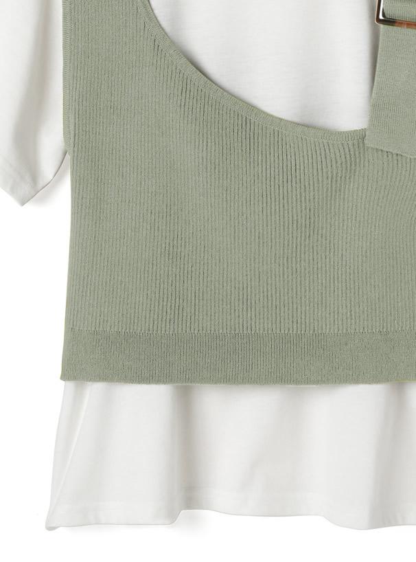 アシンメトリーデザインベストXTシャツセット