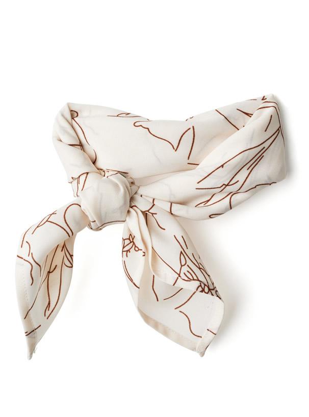 スカーフ付きリブニットタンクトップ