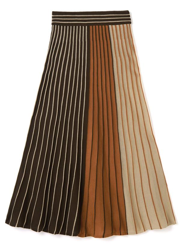 3配色プリーツニットスカート