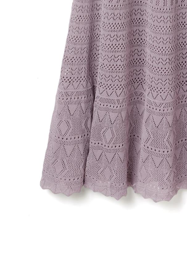 フリル透かし編みワンピース