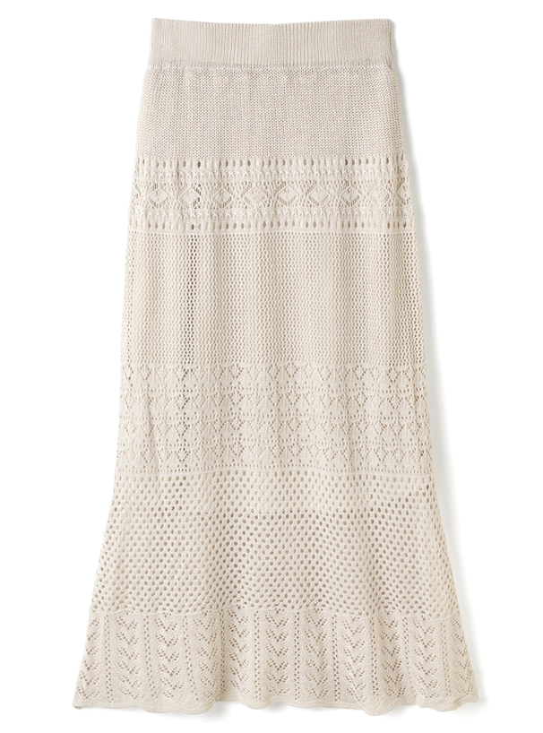 透かし編みニットスカート