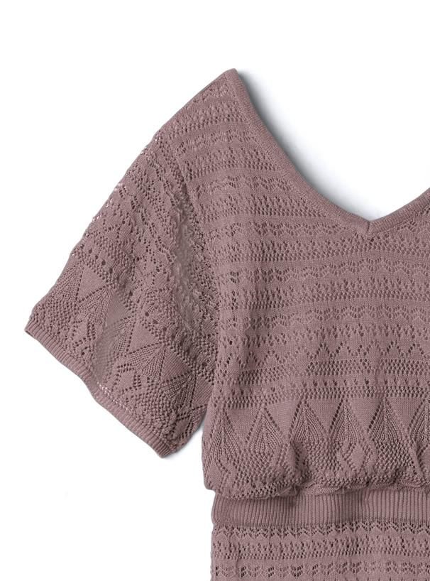 白石麻衣 バック開き透かし編みマーメイドシルエットニットワンピース