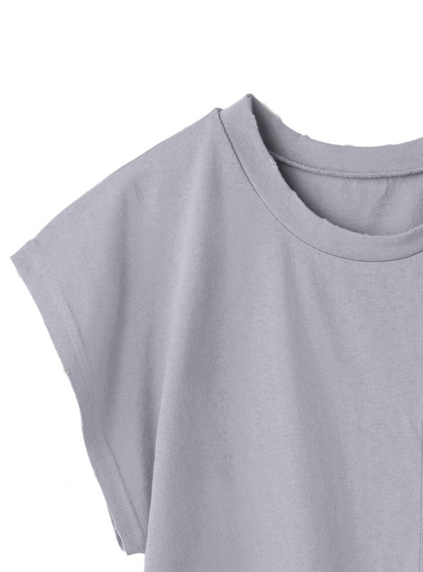 ポケット付きクラッシュショート丈Tシャツ