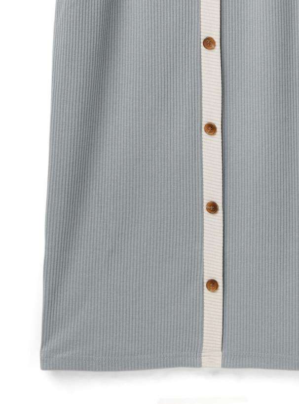 前後2Way配色テレコリブトップスXベルト付きタイトスカートセットアップ