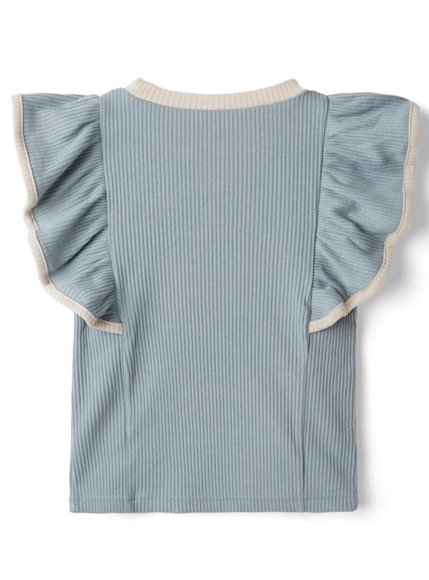 【キッズ】ロゴ刺繍配色パイピングフリルテレコトップス