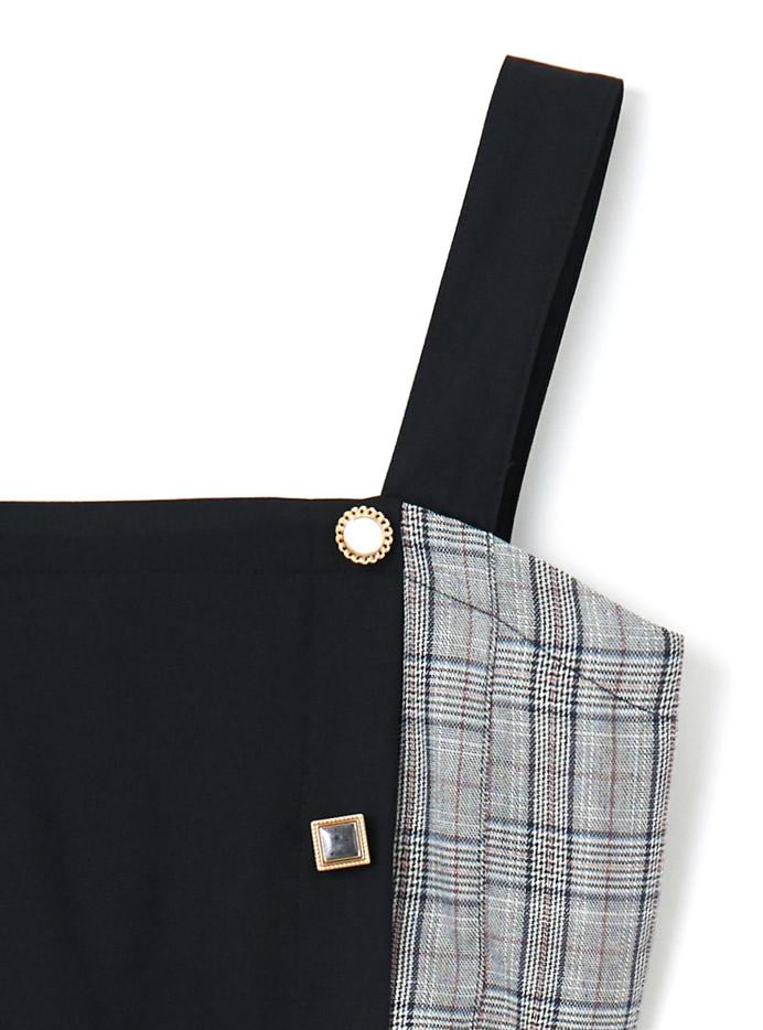 ベルト付チェック切り替えアシンメトリージャンパースカート