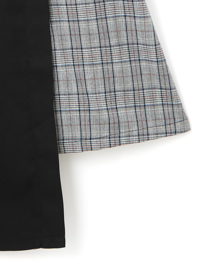 リボンベルト付チェック切り替えアシンメトリージャンパースカート
