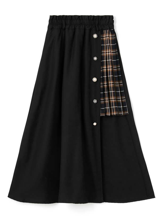 ベルト付きビジューチェック切り替えスカート