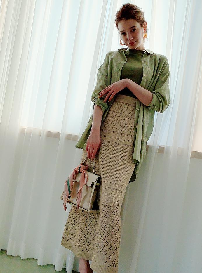 クロシェ編みロングスカート