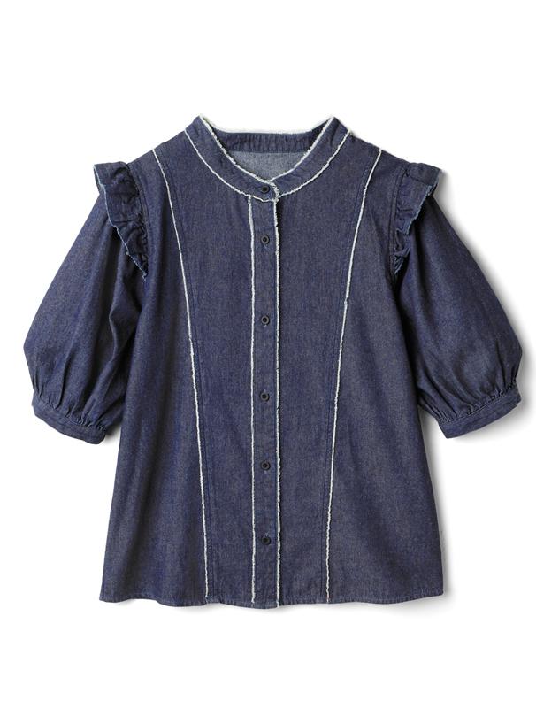今田美桜 フリンジ切り替えパフスリーブフリルデニムシャツ