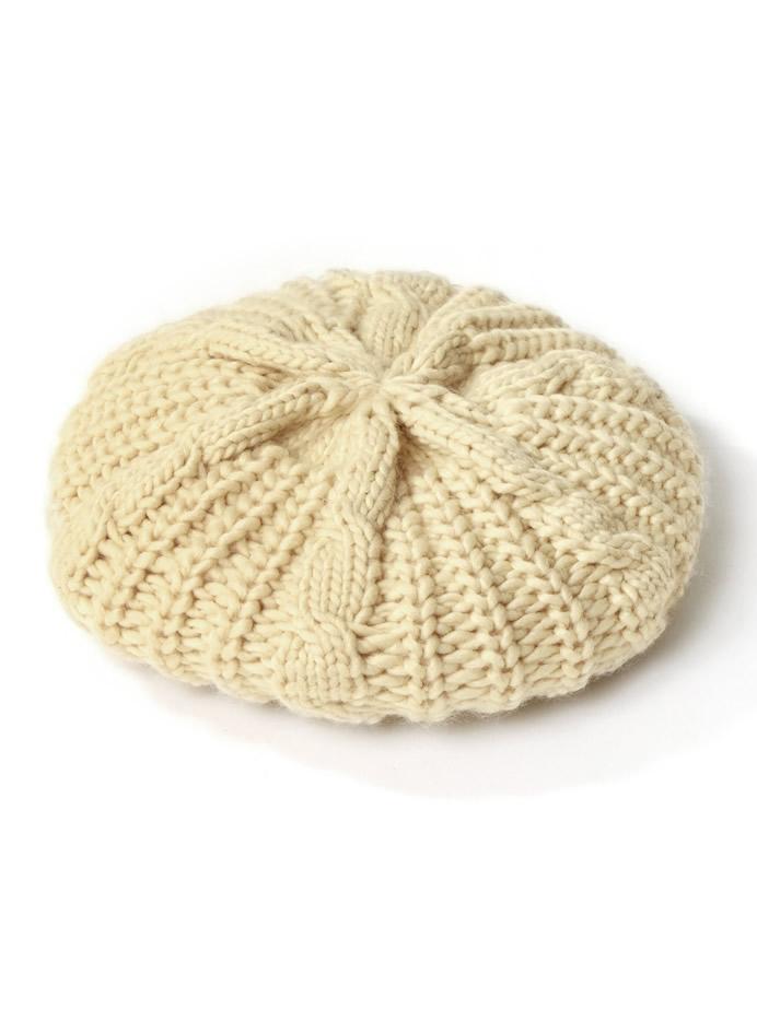 ケーブルニットベレー帽