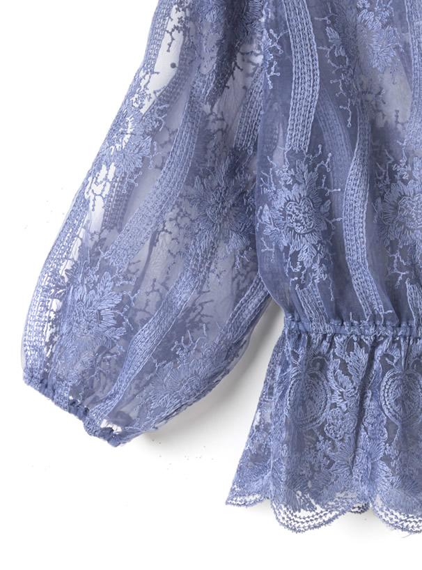 フラワー刺繍オーガンジーブラウス