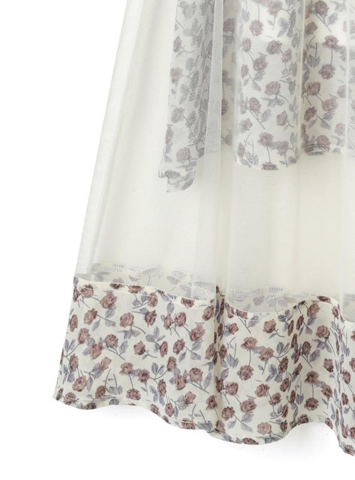 シフォン花柄チュールスカート