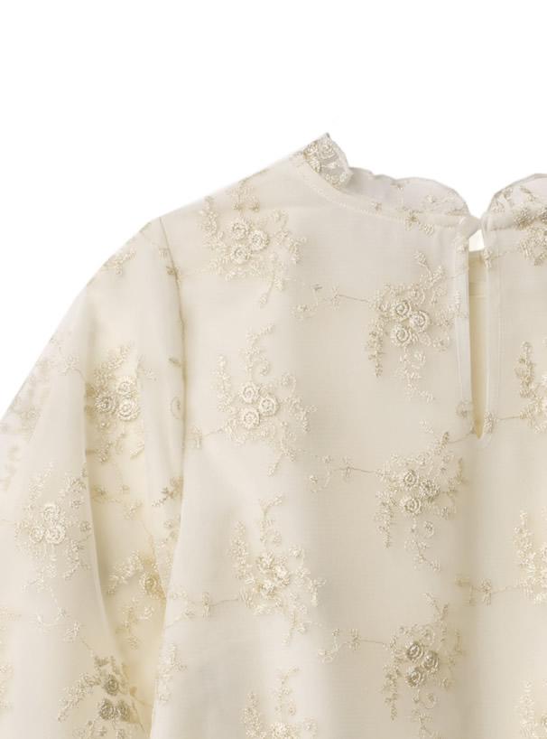 花柄刺繍チュールブラウス