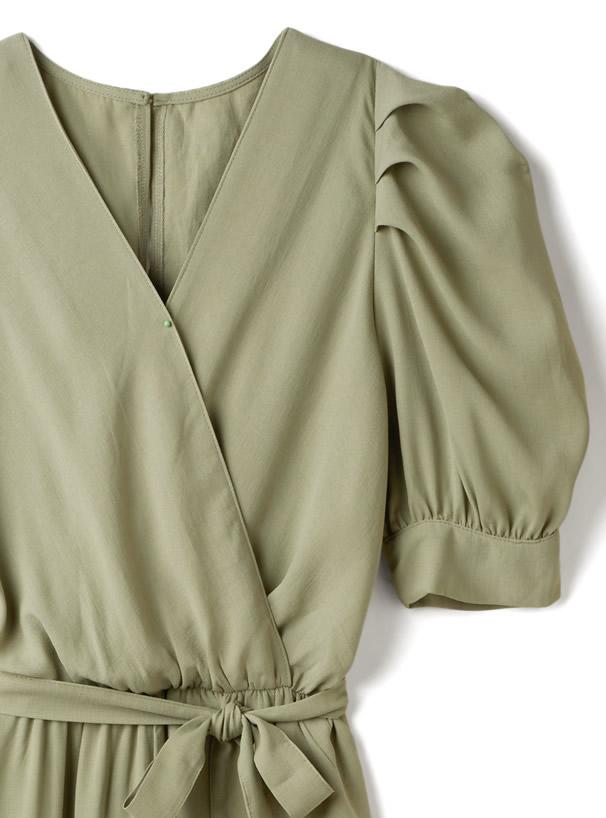 リボンベルト付きパワショルジャンプスーツ