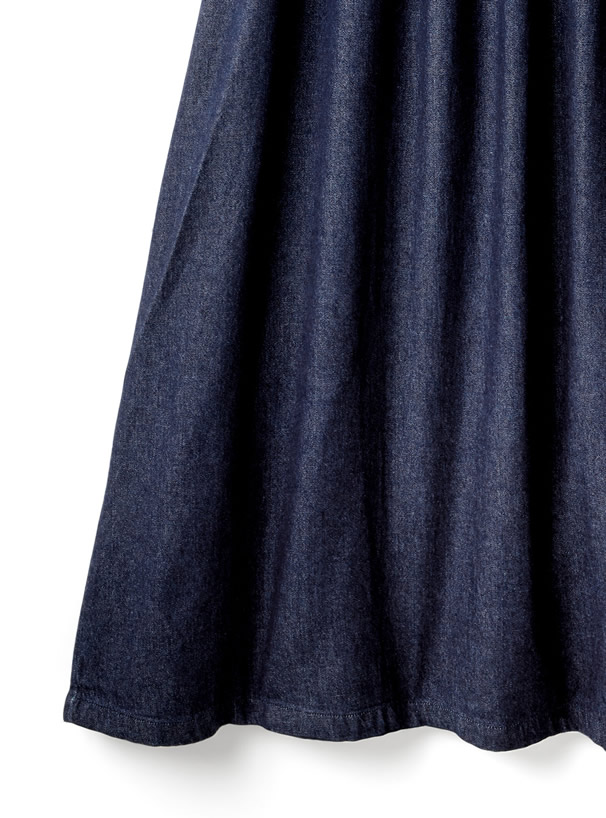バックリボンフリルデニムジャンパースカート