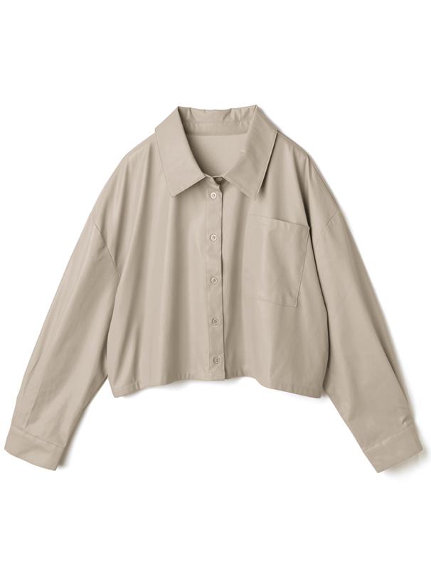 ビーガンレザーショート丈シャツ