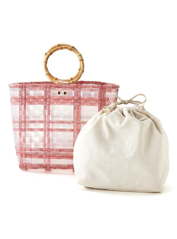 巾着付きテープ織りバンブーハンドルクリアバッグ