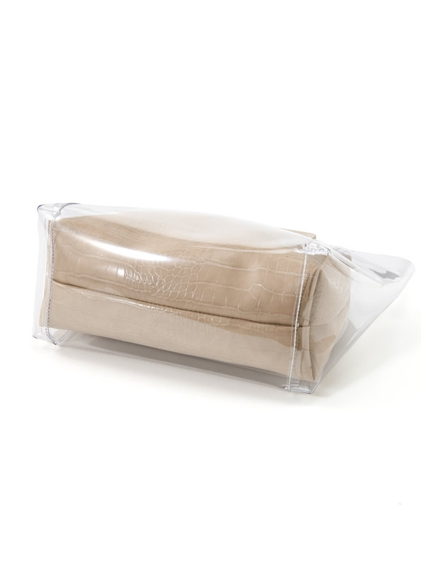 クロコダイル柄ポーチ付きスクエアハンドルクリアバッグ