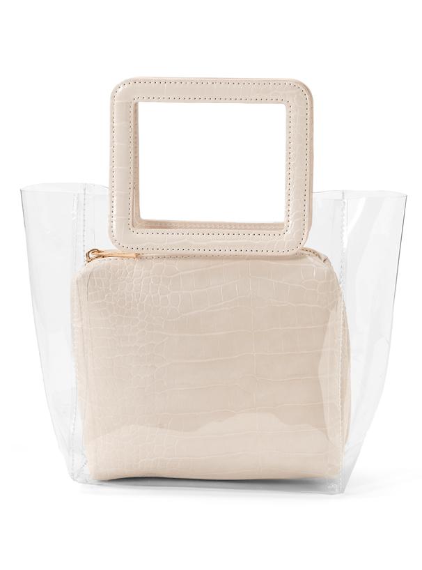 白石麻衣 クロコダイル柄スクエアハンドルクリアバッグ