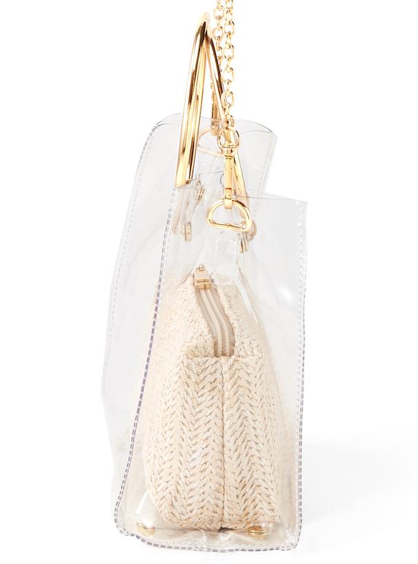 白石麻衣 2Wayポーチ付きメタルリングクリアバッグ
