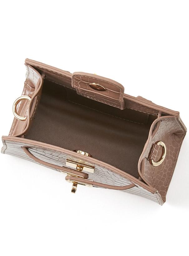 クロコダイル柄台形ショルダーバッグ