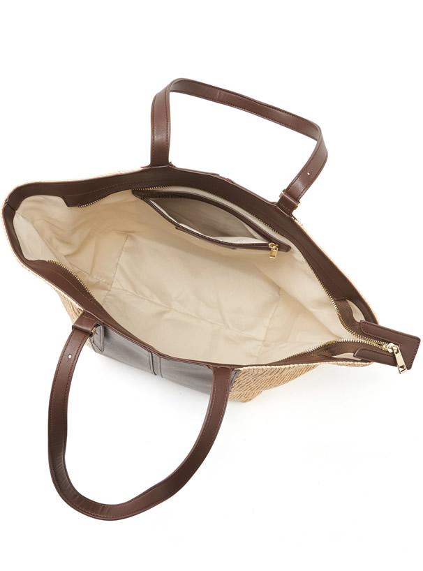 レザーコンビカゴ台形バッグ