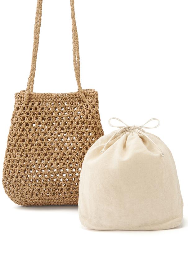 巾着付き編み込みペーパートートバッグ